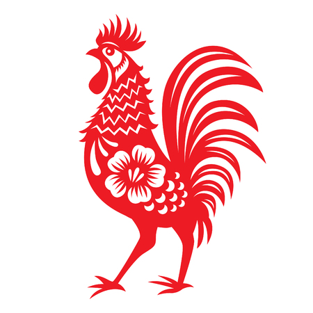 chinese festival: Red paper cut a chicken zodiac symbols