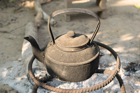 stovetop: Old kettles were metal on the stove