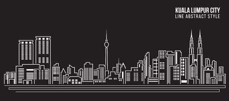 도시 건물의 라인 아트 벡터 일러스트 디자인 - 쿠알라 룸푸르 도시