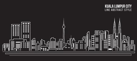 Linea di costruzione Cityscape Illustrazione arte vettoriale disegno - Kuala Lumpur