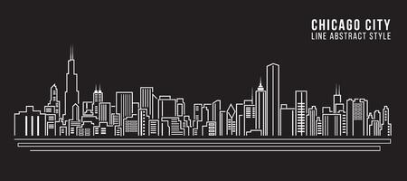 도시 건물의 라인 아트 벡터 일러스트 디자인 - 시카고 도시