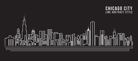 Stadtansicht von Gebäuden Linie Kunst Vektor-Illustration Design - Chicago Stadt Standard-Bild - 50738265