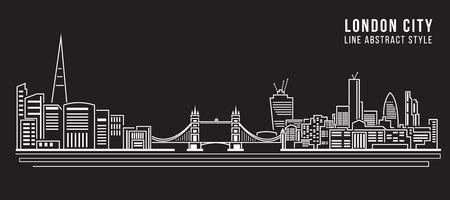 Paesaggio urbano di costruzione Linea Illustrazione arte disegno vettoriale - città di Londra Archivio Fotografico - 50654065