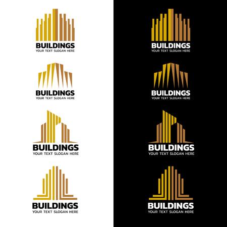 franjas de oro amarillo icono del diseño del edificio conjunto de vectores Ilustración de vector