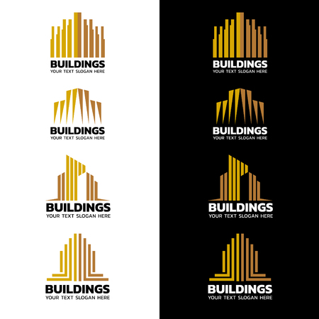 architecture: Yellow gold stripes Building icon vector set design Illustration
