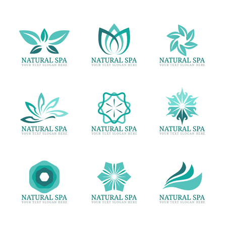 beauty icon: Flower and leaf icon vector set design for Beauty spa salon or hotel