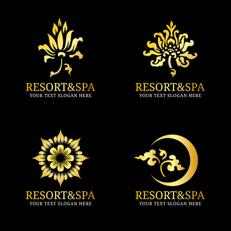 spa resort: Gold Flower thai art icon vector set for spa resort hotel or jewelry business
