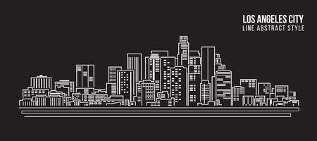 都市の景観建物ライン アート ベクトル イラスト デザイン - ロサンゼルス市