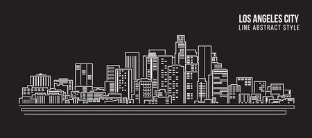 cityscape silhouette: Cityscape Building Line art Vector Illustration design - Los Angeles City
