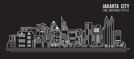 도시 건물 라인 아트 벡터 일러스트 레이 션 디자인 - 자카르타 도시