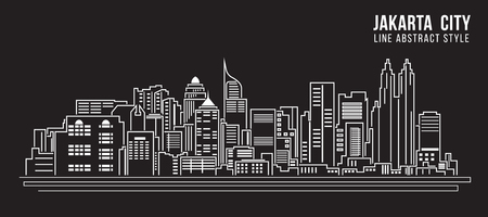 Cityscape Building Line art Vector Illustration design - Jakarta city