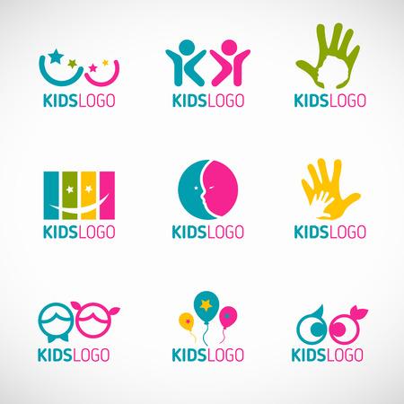 happiness: diseño de los niños conjunto de iconos vectoriales