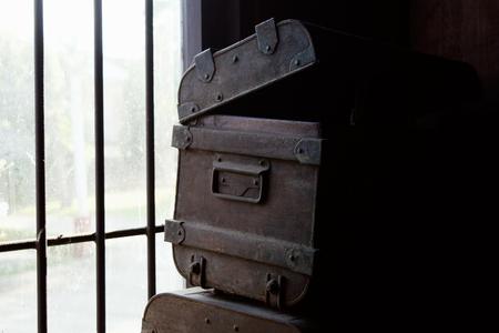 treasure box: Old Iron treasure box in dark room