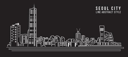 Linea di costruzione Cityscape Illustrazione arte vettoriale disegno - città di Seoul Vettoriali