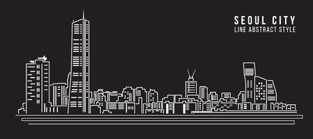 Paisaje urbano Línea de construcción de Arte, diseño de ilustración vectorial - la ciudad de seúl Ilustración de vector
