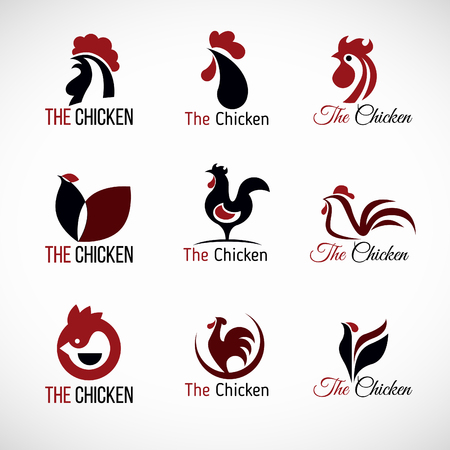 Black red and brown Chicken logo vector set design Vectores