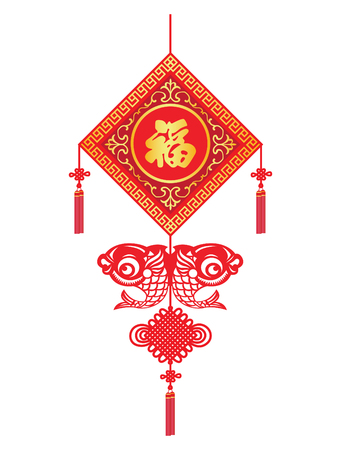 auspicious sign: China knot - Lucky sheet for Chinese New Year and Chinese word mean happiness