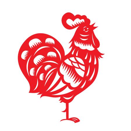 flores chinas: papel rojo cortar un pollo símbolos del zodiaco