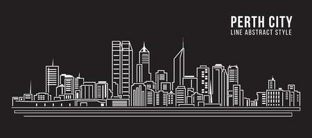 cityscape silhouette: Cityscape Building Line art Vector Illustration design - Perth City