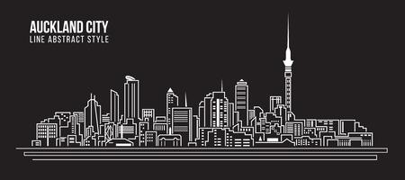 new zealand landscape: Cityscape Building Line art Illustration design - Auckland city