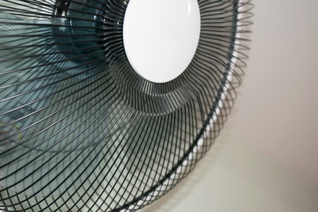 mechanical ventilation: Close up Wall-Mounted Electric fans Stock Photo