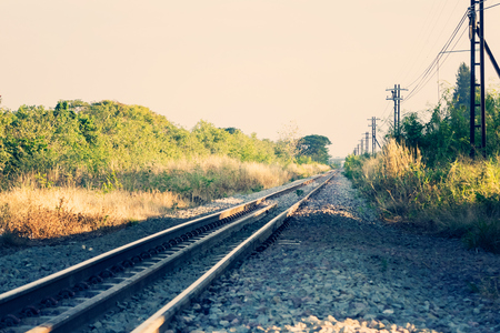 railway transportation: Railway or railroad tracks for train transportation vintage style