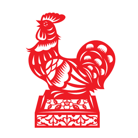 cut: Red paper cut a chicken on on the podium zodiac symbols