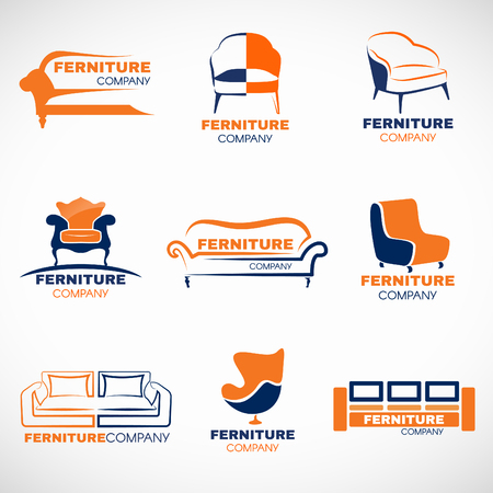 Orange and blue furniture  set design 向量圖像
