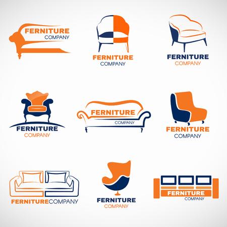 Orange and blue furniture  set design Illustration