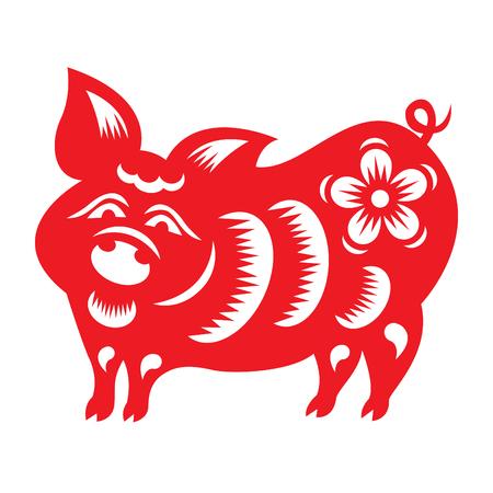 cut paper: Red paper cut a pig zodiac symbols Illustration