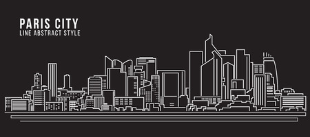 paris france: Cityscape Building Line art Illustration design - Paris city