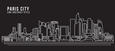 Cityscape Building Line art Illustration design - Paris city