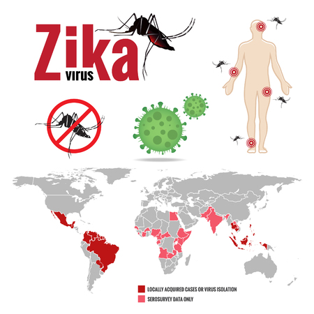 virus icon: Zika virus and Human and stop mosquito sign and map world