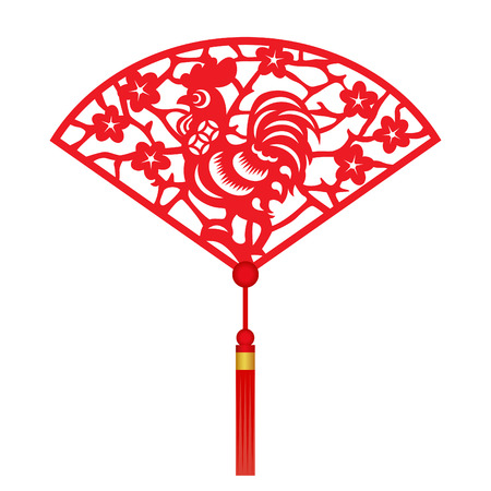cut paper: Red paper cut a chicken zodiac and flower in folding fans symbols