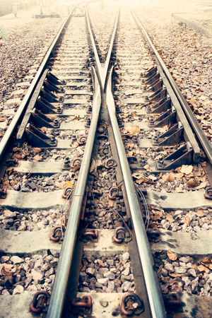 railway transportation: Two Railway or railroad tracks for train transportation vintage style