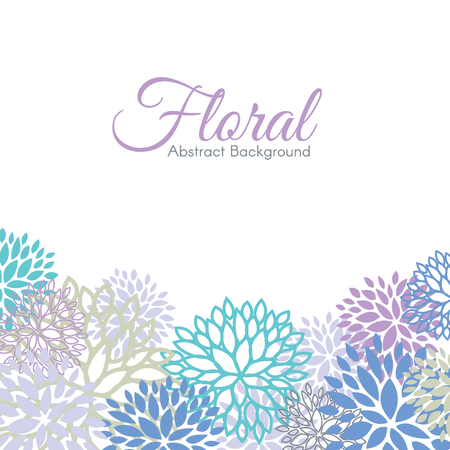 The cool color floral abstract background vector design