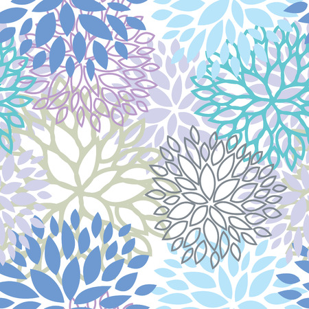 Cool color floral seamless pattern vector design