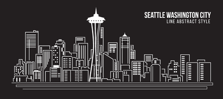 都市の景観建物ライン アート ベクトル イラスト デザイン - シアトル ワシントン市  イラスト・ベクター素材