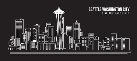Stadtansicht von Gebäuden Linie Kunst Vektor-Illustration Design - Seattle Washington Stadt