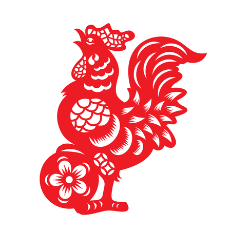 china art: Red paper cut a chicken zodiac and flower symbols