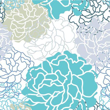 botan: Cool color Botan floral seamless pattern vector design