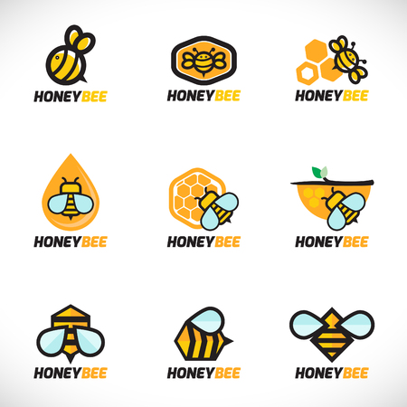 Honey bee logo vector set art design Stock Illustratie