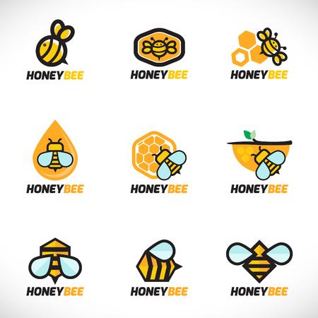 Honey bee logo vector set art design Vettoriali