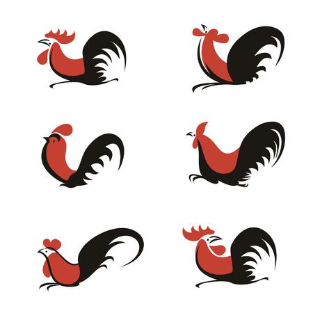 Oranje en zwarte kip haan logo teken vector art set ontwerp