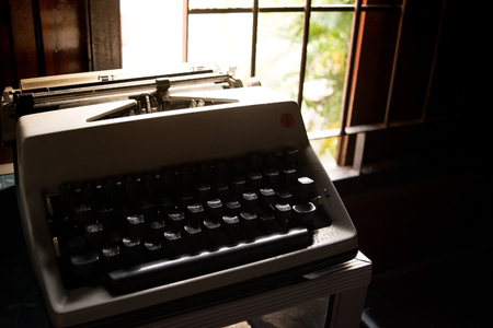 old letters: Old typewriter  Keyboard Thai Language  in room - retro style