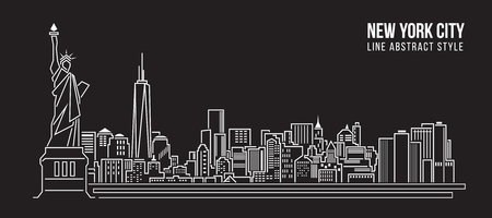 都市の景観建物ライン アート ベクトル イラスト デザイン - ニューヨーク市