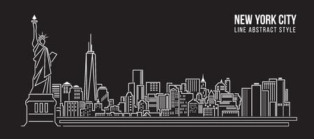 blanco: Paisaje urbano Edificio Línea diseño de ilustración, vector - nueva york