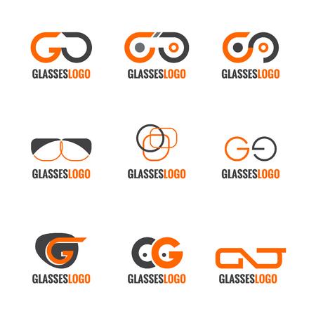 nerd glasses: Orange and gray Glasses logo vector set design Illustration