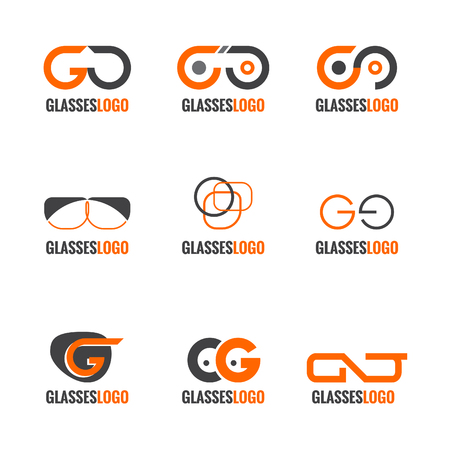Orange and gray Glasses logo vector set design Illustration