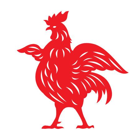 cut paper: Red paper cut a chicken zodiac symbols